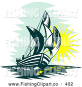 Clip Art of a Retro Tall Sailboat at Sea During Sunrise or Sunset by Patrimonio