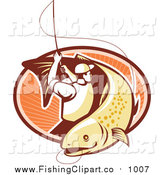 Clip Art of a Retro Trout Fisher Man Reeling in a Fish over an Oval of Rays by Patrimonio