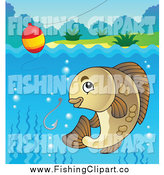 Clip Art of a River Fish, Hook and Bobber by Visekart