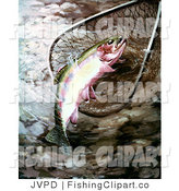 Clip Art of a River Golden Trout in a Fishing Net by JVPD