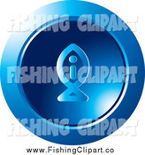 Clip Art of a Round Blue Fish I Information Icon by Lal Perera
