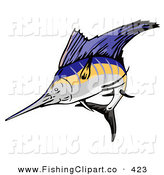 Clip Art of a Sailfish Jumping out of the Water by Patrimonio