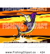 Clip Art of a Sailfish Leaping at a Beautiful Orange Sunset by Patrimonio