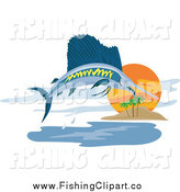 Clip Art of a Sailfish Leaping near an Island by Patrimonio