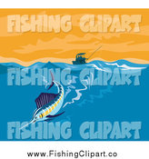 Clip Art of a Sailfish Riding a Wave near a Boat by Patrimonio