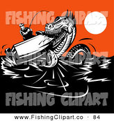 Clip Art of a Sea Monster Attacking a Fisherman's Boat on the Ocean by Patrimonio
