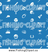 Clip Art of a Seamless Blue Sports Icon Pattern on Blue by AtStockIllustration