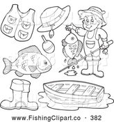 Clip Art of a Set of Coloring Page Outlined Fishing Items Digital Collage by Visekart