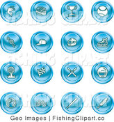 Clip Art of a Set of Round Blue Icons on White by AtStockIllustration