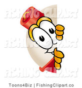 Clip Art of a Shy Fishing Bobber Mascot Cartoon Character Peeking Around a Corner by Toons4Biz