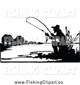Clip Art of a Silhouetted Fishing Man by Prawny Vintage