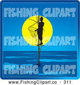 Clip Art of a Silhouetted Pole Fisherman in Sri Lanka by Lal Perera