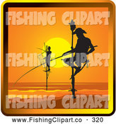 Clip Art of a Silhouetted Pole Fishermen in Sri Lanka by Lal Perera