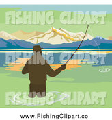 Clip Art of a Silhouetted Wading Fisherman on a Lake by Patrimonio