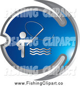 Clip Art of a Silver and Blue Fishing Icon by Lal Perera