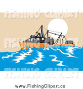 Clip Art of a Sinking Fishing Boat at Sea by Patrimonio
