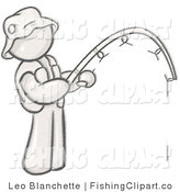 Clip Art of a Sketched Design Mascot Fisherman Wearing a Hat and Vest and Holding a Fishing Pole by Leo Blanchette