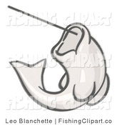 Clip Art of a Sketched Fish Hooked on a Line by Leo Blanchette