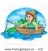 Clip Art of a Smiling Boy Fishing in a Wooden Boat by Visekart