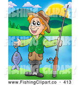 Clip Art of a Smiling Boy Holding a Fish and His Pole near a Lake by Visekart