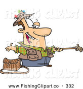 Clip Art of a Smiling Cartoon Fisherman Holding out a Glove on a Stick by Toonaday
