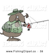 Clip Art of a Sporty and Outdoorsy Brown Dog in a Vest, Holding a Fishing Pole by Djart