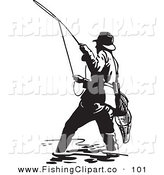 Clip Art of a Sporty Black and White Wading Fisherman Casting a Line by BestVector
