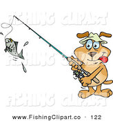 Clip Art of a Sporty Brown Dog Reeling in a Fish on a Line by Dennis Holmes Designs