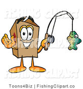 Clip Art of a Sporty Cardboard Box Mascot Cartoon Character Holding a Fish on a Fishing Pole by Toons4Biz