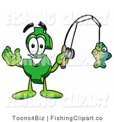Clip Art of a Sporty Dollar Sign Mascot Cartoon Character Holding a Fish on a Fishing Pole by Toons4Biz
