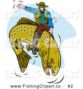 Clip Art of a Sporty Fisherman Riding a Trout like a Cowboy at the Rodeo by Patrimonio