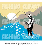 Clip Art of a Sporty Fisherman Wading in a Mountainous River by Patrimonio