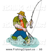 Clip Art of a Sporty Fishing Man Scooping up a Fish in a Net by Patrimonio