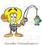 Clip Art of a Sporty Light Bulb Mascot Cartoon Character Holding a Fish on a Fishing Pole by Toons4Biz