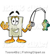 Clip Art of a Sporty Light Switch Mascot Cartoon Character Holding a Fish on a Fishing Pole by Toons4Biz