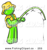 Clip Art of a Sporty Lime Green Man Wearing a Hat and Vest and Holding a Fishing Pole by Leo Blanchette