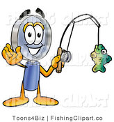 Clip Art of a Sporty Magnifying Glass Mascot Cartoon Character Holding a Fish on a Fishing Pole by Toons4Biz