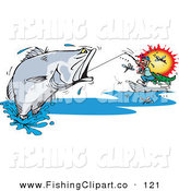 Clip Art of a Sporty Man Reeling in a Large Barramundi Fish, Surrounded by Flies by Dennis Holmes Designs