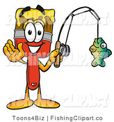 Clip Art of a Sporty Paint Brush Mascot Cartoon Character Holding a Fish on a Fishing Pole by Toons4Biz