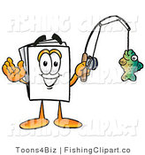 Clip Art of a Sporty Paper Mascot Cartoon Character Holding a Fish on a Fishing Pole by Toons4Biz