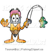 Clip Art of a Sporty Pencil Mascot Cartoon Character Holding a Fish on a Fishing Pole by Toons4Biz