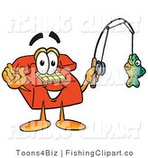 Clip Art of a Sporty Red Telephone Mascot Cartoon Character Holding a Fish on a Fishing Pole by Toons4Biz