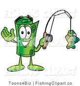 Clip Art of a Sporty Rolled Money Mascot Cartoon Character Holding a Fish on a Fishing Pole by Toons4Biz