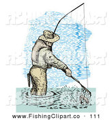 Clip Art of a Sporty Sketched Fisherman Scooping up a Fish in a Net by Patrimonio