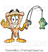 Clip Art of a Sporty Slice of Pizza Mascot Cartoon Character Holding a Fish on a Fishing Pole by Toons4Biz