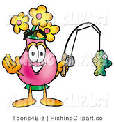 Clip Art of a Sporty Vase of Flowers Mascot Cartoon Character Holding a Fish on a Fishing Pole by Toons4Biz