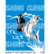 Clip Art of a Sporty Wading Fisherman Reeling in a Leaping Trout in a River by Patrimonio