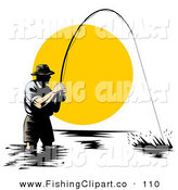 Clip Art of a Sporty Wading Fisherman Reeling in a Strong Fish at Sunset by Patrimonio