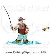 Clip Art of a Sporty Wading Fly Fishing Man Casting His Line by Patrimonio