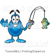 Clip Art of a Sporty Water Drop Mascot Cartoon Character Holding a Fish on a Fishing Pole by Toons4Biz